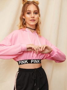 Drop Shoulder Letter Hem Crop Hoodie