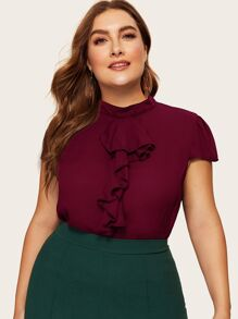 Plus Mock-neck Jabot Collar Solid Top