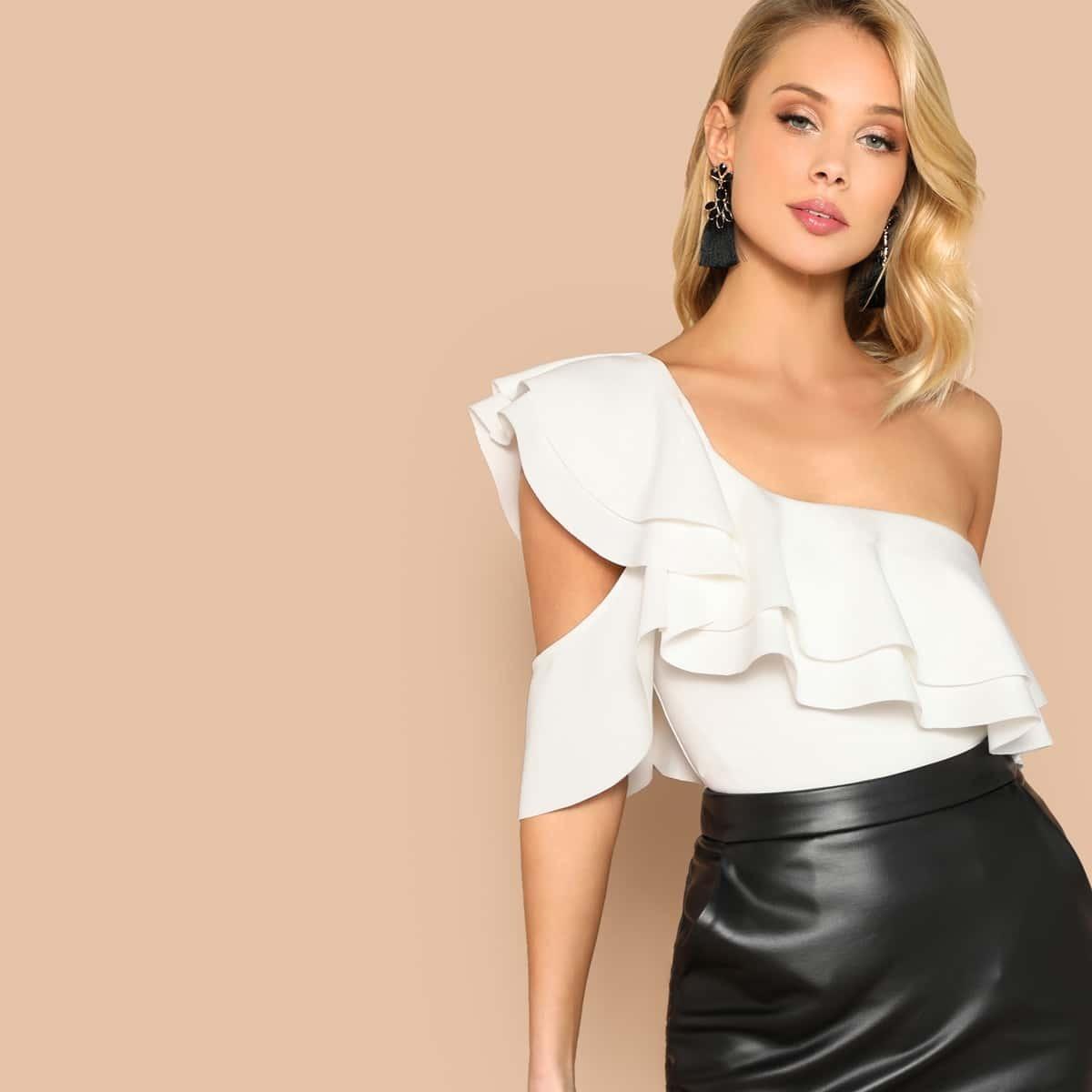 SHEIN coupon: Layered Ruffle One Shoulder Bodysuit
