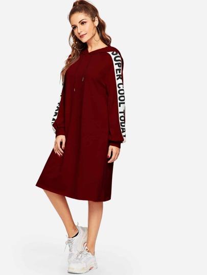 Letter Raglan Sleeve Hoodie Dress