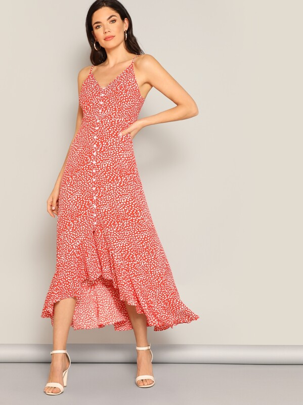 567f411577669 Cheap Dalmatian Print Ruffle Hem Button Cami Dress for sale ...