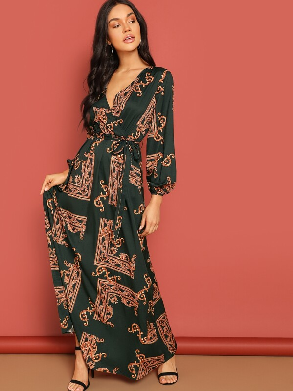 9398c2993b15bf Wrap Neckline Belted Scarf Print Dress | SHEIN UK