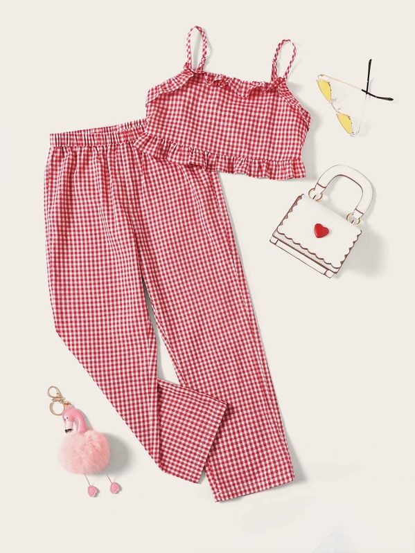 e30469bfa58e Girls Ruffle Gingham Cami Top and Pants Set | SHEIN