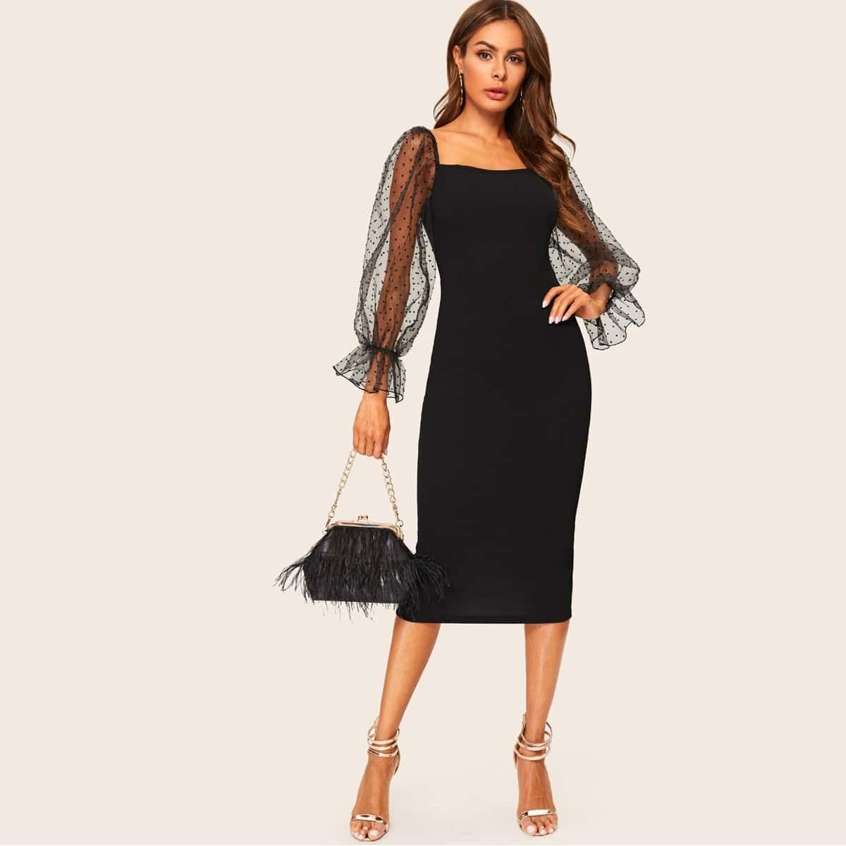 Платье-футляр с оригинальным рукавом и сеткой