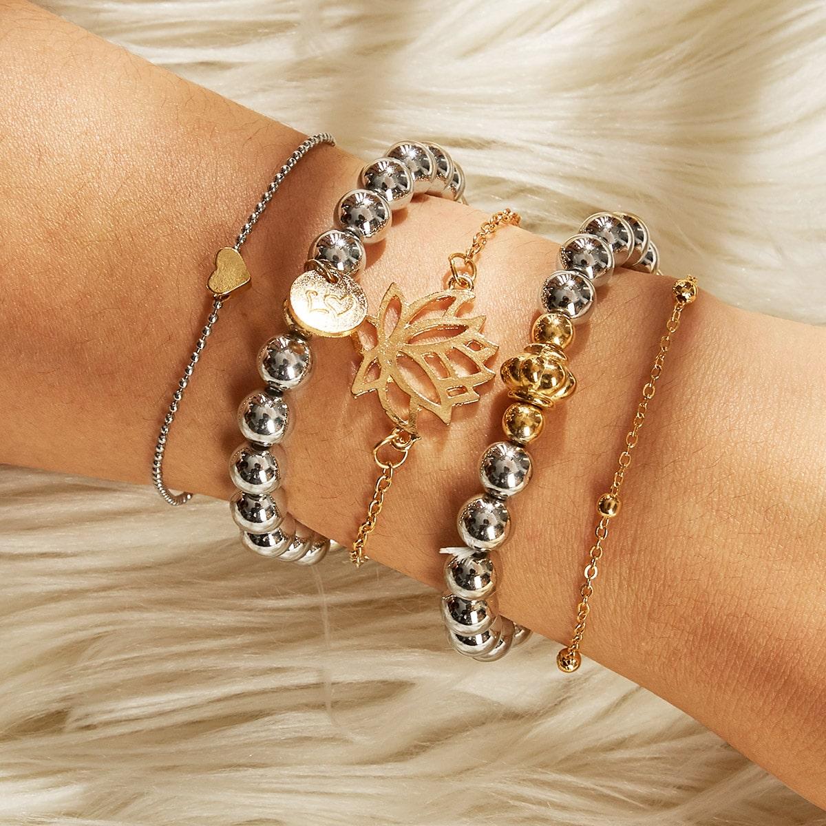 Armband mit Lotus Dekor und Perlen Dekor 5 Stücke