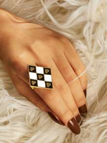 Heart Detail Rhombus Ring 1pc