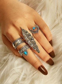 Feather Decor Engraved Ring 4pcs