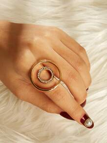 Double Circle Design Ring 1pc
