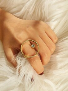 Rhinestone Detail Circle Ring 1pc