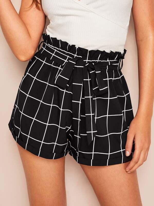 9faa2de79d4e Paperbag Waist Grid Print Shorts | SHEIN