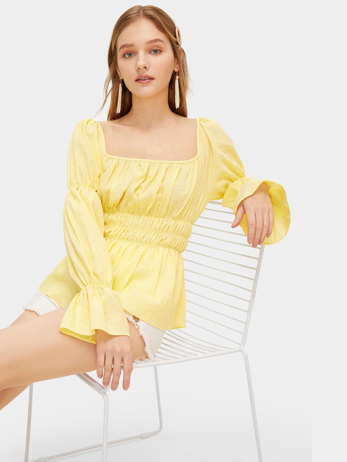 Square Neck Elasticized Sleeve Shirred Peplum Top by Romwe