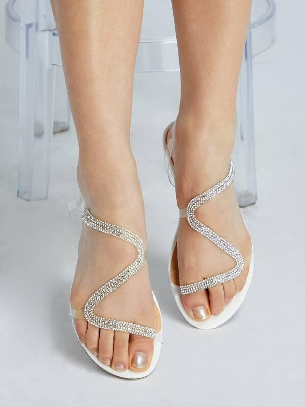 Transparent Crystal Crystal Sandals Strappy Strappy Crystal Transparent Transparent Gladiator Gladiator Sandals mNn0O8vw