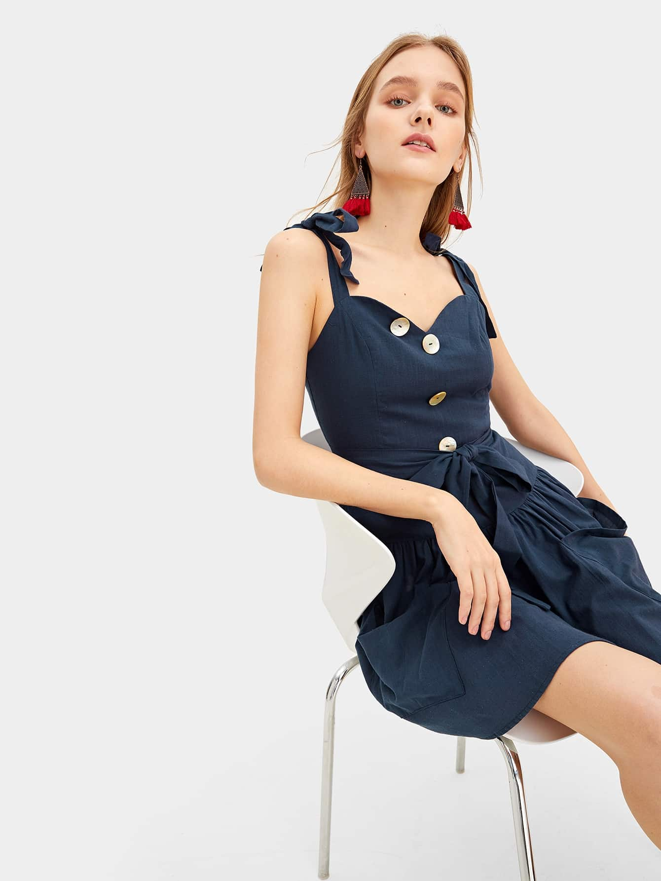 Knotted Shoulder Button Front Belted Dress by Romwe