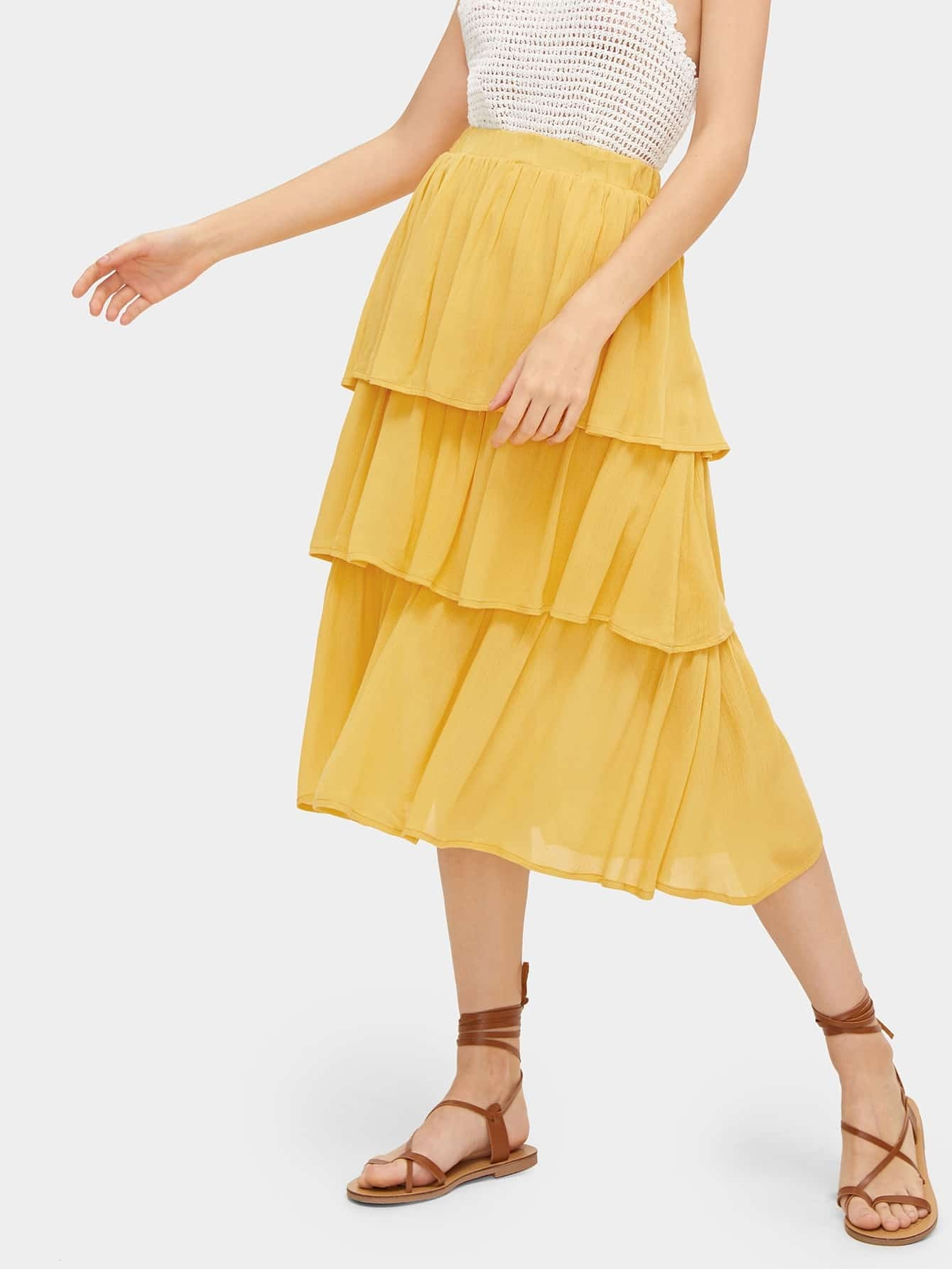 Solid Tiered Layer Skirt by Romwe