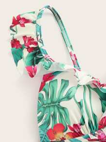 c10654e79f Tropical Print Ruffle Trim Swimsuit | SHEIN UK
