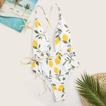 Plunge Neck Criss-cross Back Floral One Piece Swimsuit