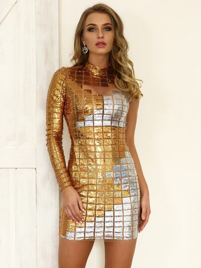 Joyfunear Two-tone Sequin Patched Mesh Form Fitting Dress