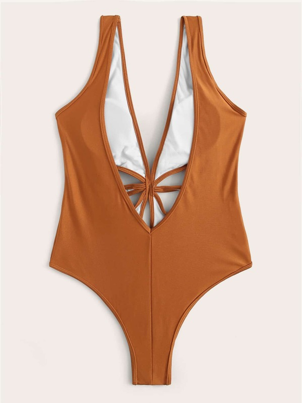8742a7a66c5 Double V-Neck Cut-out Front One Piece Swimsuit | SHEIN