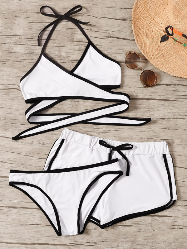 7a213174ec Contrast Piping Wrap Halter Bikini Set With Shorts 3pack | SHEIN