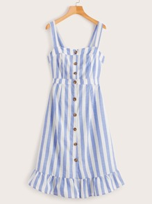 Striped Single-breasted Knot Back Ruffle Hem Dress