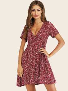 Calico Print Deep V-neck Dress