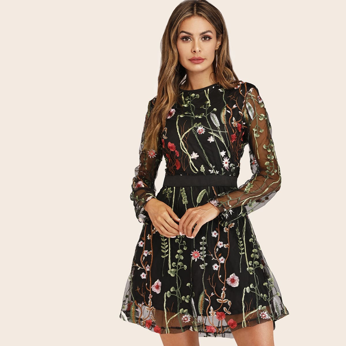 SHEIN coupon: Embroidered Mesh Overlay Dress