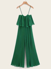 Ruffle Trim Pleated Cami Chiffon Jumpsuit