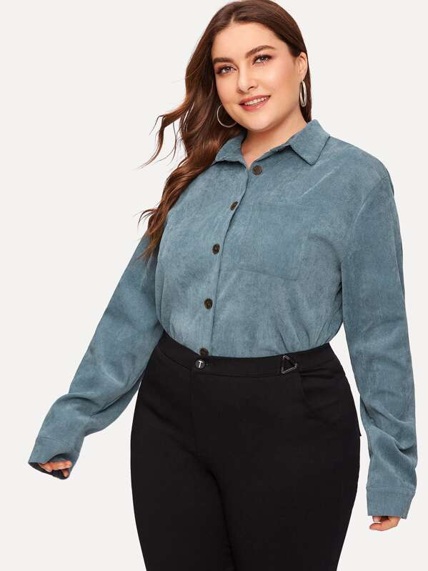 c7cff4313be5 Plus Button Front Solid Corduroy Blouse | SHEIN