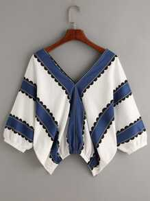 Plus Lantern Sleeve Striped Blouse