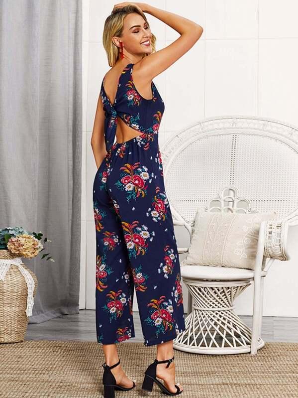 d111a764a977 Floral Print Button Front Tie Back Jumpsuit