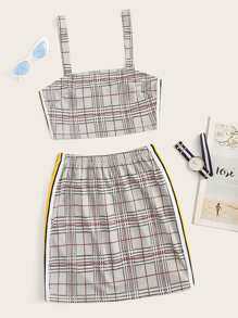 Tartan Plaid Side Stripe Cami Top With Skirt