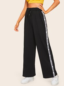 Letter Tuxedo Stripe Side Wide Leg Pants