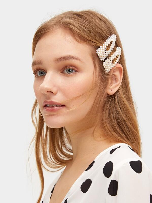 8ae69ba70 Faux Pearl Decor Hair Snap Clip 2pack | SHEIN UK