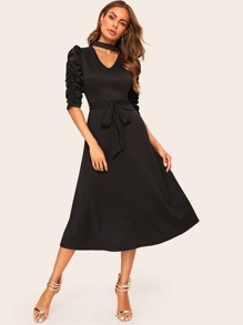 Puff Sleeve V Cut Choker Flare Dress