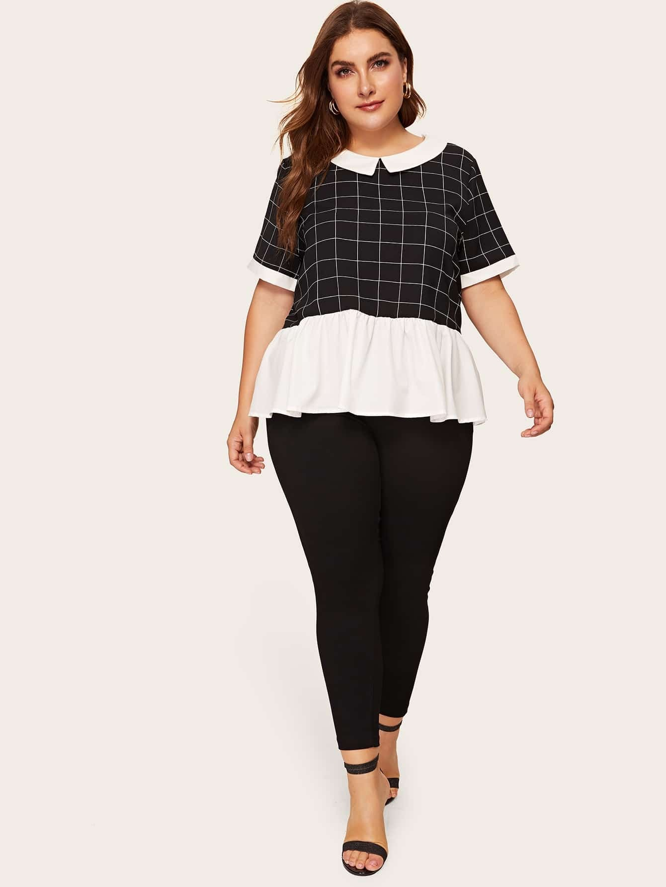 Plus Peter-pan-collar Colorblock Grid Top | SHEIN