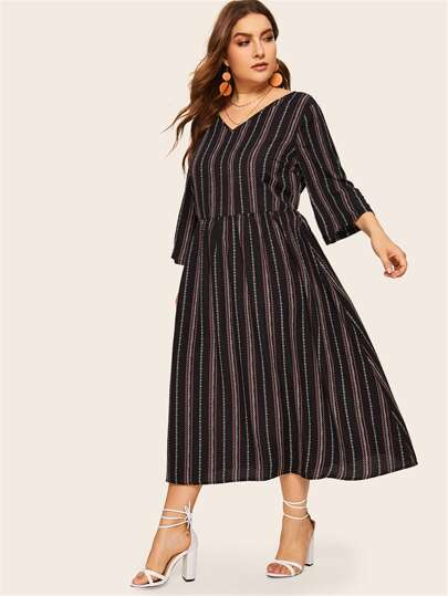 cbacfe53755 Plus V-neck Striped Print Smock Dress