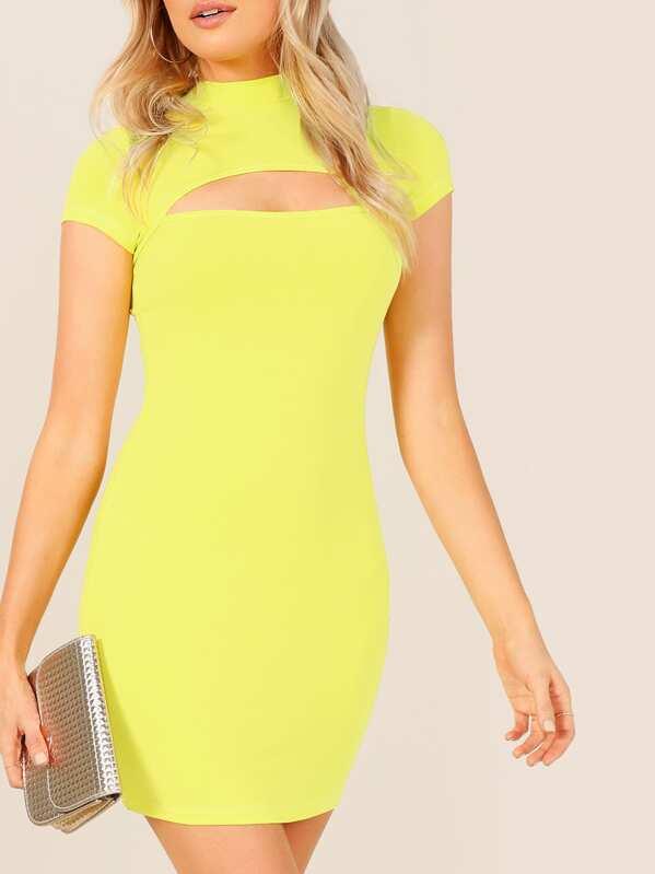 c8b046705d5d3 Neon Yellow Mock-neck Open Front Bodycon Dress