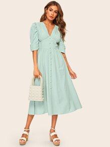 Button Front Puff Sleeve O-ring Belted High Waist Dress