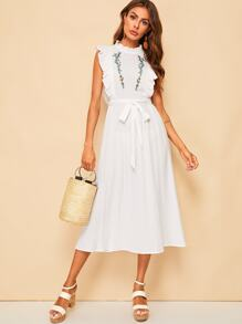 Flower Embroidery Ruffle Trim Belted Dress