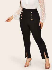 Plus Double Breasted Split Hem Tailored Pants