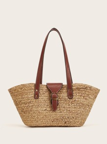 Buckle Detail Straw Tote Bag