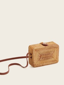Straw Detail Box Bag