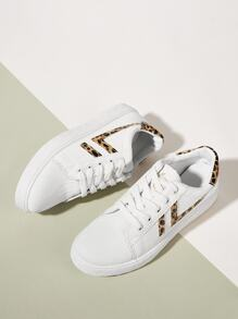 Leopard Detail Lace-up Trainers