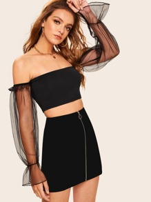 Off Shoulder Mesh Flounce Sleeve Crop Top