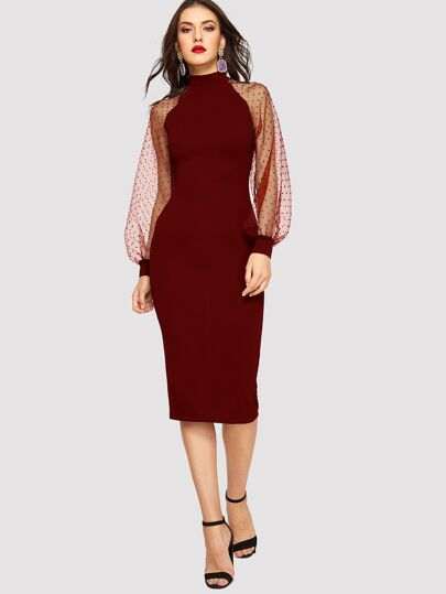 Jacquard Mesh Raglan Sleeve Pencil Dress