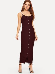 Button Front Slit Hem Rib-knit Bodycon Dress