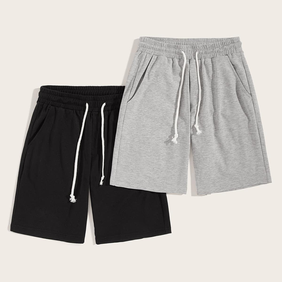 SHEIN coupon: Men Heather Knit Slant Pocket Drawstring Athletic Shorts 2PCS