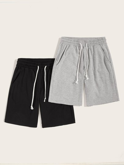 7922ac4538 Guys Heather Knit Slant Pocket Drawstring Shorts 2PCS