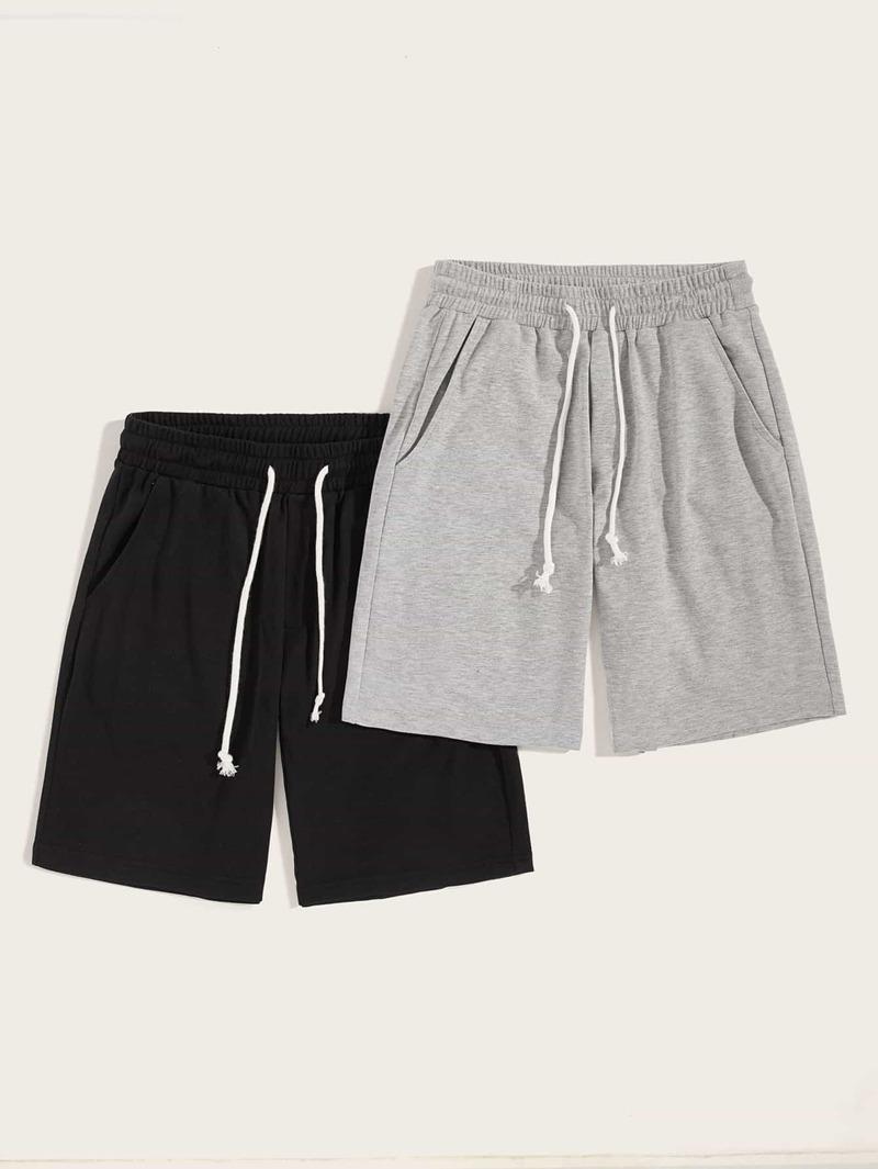 Guys Heather Knit Slant Pocket Drawstring Shorts 2 Pcs by Romwe