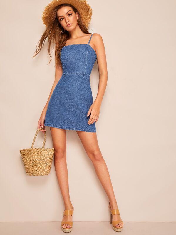 149498c3cf2 Zip Back Cami Denim Dress